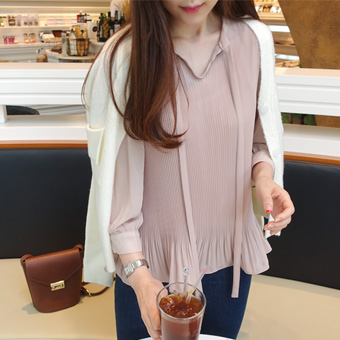 640651 - 丝带皱衬衫