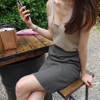 694802 - 亚麻条纹^ h裙子