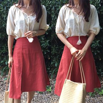 704965 - 马里昂缝亚麻裙子