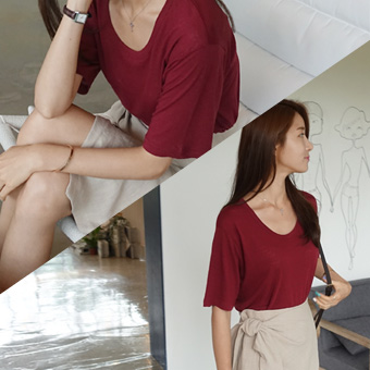 707980 - 围绕亚麻Ť恤衫