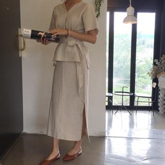 714661 - 基本麻布缝裙子