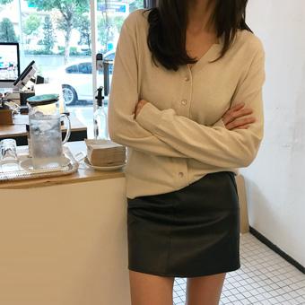 720924 - 米尼米皮革裙子