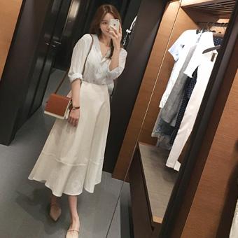 754372 - 亚麻布全裙子裙子