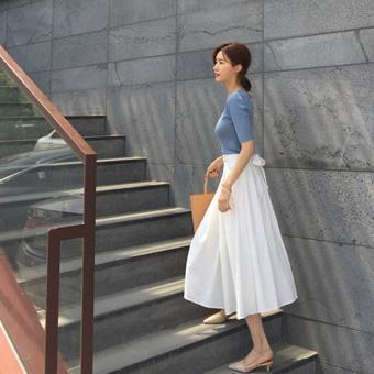 755066 - 亚麻丝带长裙子